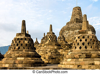 Borobudur Tempelstolper, Jogyakarta, Java-Insel, Indonesien