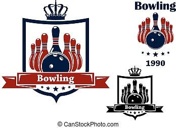 Bowling Club Emblem oder Symbol.