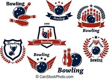 Bowling Sport Embleme und Symbole.