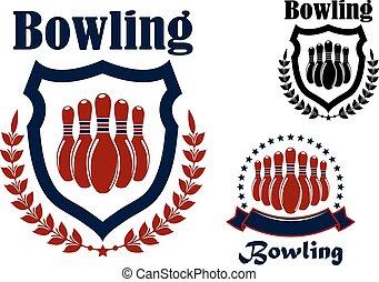 Bowling-Sportspiel-Grafik Emblem.