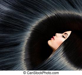 brünett, frau, schoenheit, schwarz, hair., gesunde, langer