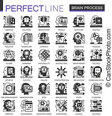 Brain mind verarbeitet schwarze Mini-Konzepte Icons und infographische Symbole gesetzt.