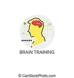 Brain Training denken neue Ideen inspirieren kreatives Prozess-Business-Icon.