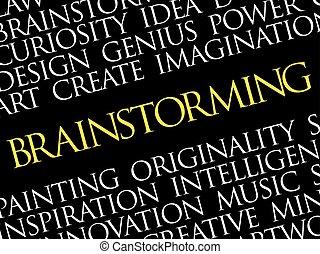 brainstorming, wort, wolke