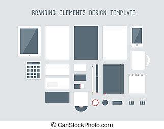 brandmarken, design, vektor, satz, elemente