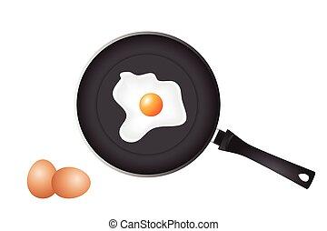 Brat Pfanne und Eier.