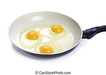 braten, eier, drei, pfanne