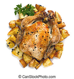 Brathähnchen und Kartoffeln