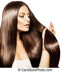 brauner, frau, schoenheit, sie, gesunde, langes haar, berühren