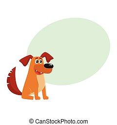 brauner hund, sitzen, haus, zeichen, lustiges, junger hund