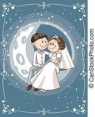 Braut und Bräutigam sitzen auf dem Mond-Vektor-Cartoon.