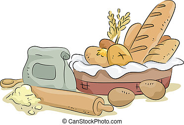 bread, materialien, backzutaten