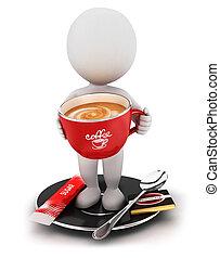 brechen, weißes, 3d, bohnenkaffee, leute