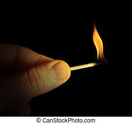 brennender, hand, stock, streichholz, besitz