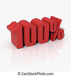 briefe, prozent, übertragung, rotes , 3d, 100