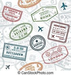 briefmarke, beschaffenheit, reisepaß