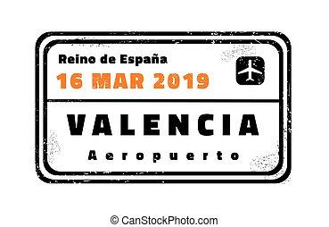 briefmarke, valencia, reisepaß