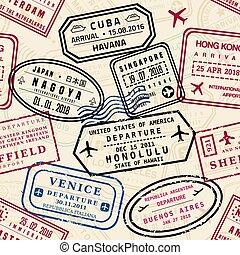 briefmarken, reisepaß, muster
