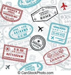 briefmarken, reisepaß, seamless