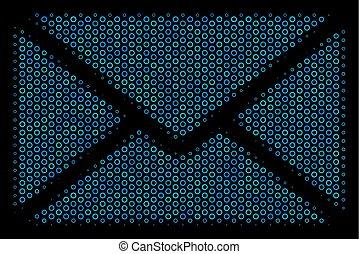 Briefumschlag Komposition Ikone der Halbtonkreise