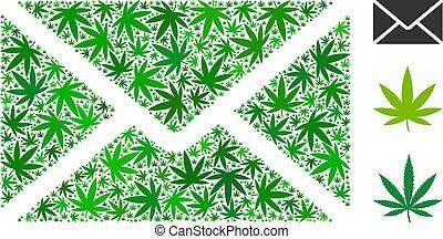 Briefumschlag Mosaik von Grasblättern