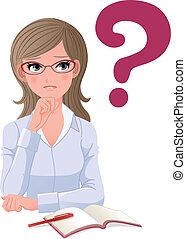 Brillenträgerin mit Frage