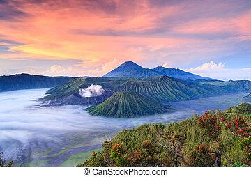 Bromo vono bei Sonnenaufgang, Ostjava, Indonesien.