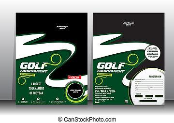 broschüre, turnier, schablone, flieger, &, golfen