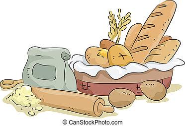 Brot und Backwaren und Zutaten.