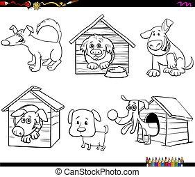 buch, hunden, lustiges, charaktere, färbung, karikatur, seite