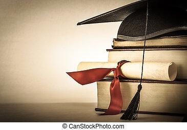 buch, rolle, studienabschluss, stapel