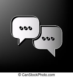 Buchenblasenzeichen. Vector. Graues 3d gedrucktes Icon auf schwarzem Hintergrund.