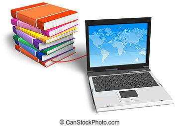 buecher, verbunden, laptop, stapel