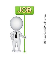 bunner, person, grün, job., 3d, klein