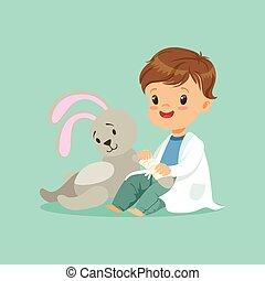 bunny., reizend, wenig, spielzeug, patient, doktor, concept., pfote, wohnung, vektor, junge, abbildung, baby, design, verheilt