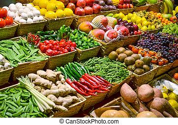bunte, gemuese, fruechte, verschieden, früchte, frisch, markt