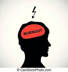 Burnout in Männer Kopf Silhouette Konzept von Stress, Kopfschmerzen, Depression.