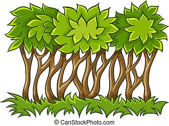 Bush mit grünen Blättern auf Gras