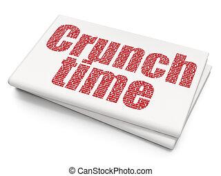 Business-Konzept: Crunch Time auf leeren Zeitungen Hintergrund.