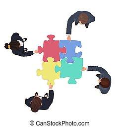 Business People Team mit Puzzleteilen. Finanzlösungskonzept.