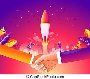 Business Start Up Concept für Web-Seite, Banner, Präsentation, soziale Medien. Vector Illustration, Business Projekt Start-up Prozess, Idee durch Planung und Strategie, Zeitmanagement, Realisierung