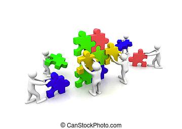 Business Teamwork baut Puzzles zusammen.