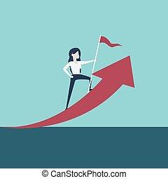 Business Woman Leader Vektorkonzept. Symbol der Zeit der Bewegung, Frau im Geschäft, Emanzipation, Erfolg, Führung, Vision.