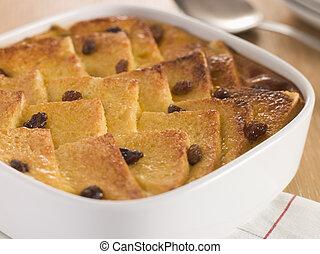 butter gericht, pudding, bread