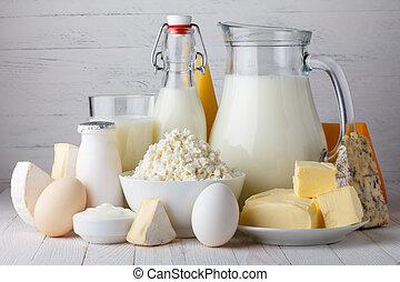 butter, milch, eier, produkte, hölzern, joghurt, sauer, molkerei, hütte, tisch, kã¤se, creme