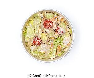 caesar salat, freigestellt, pappe, bowl.