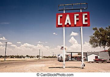 Café-Schild entlang der historischen Route 66 in Texas.