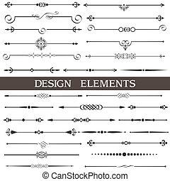 calligraphic, elemente, seite, dekor, satz, vektor, design