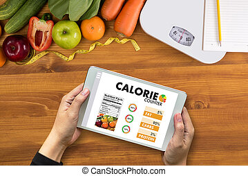 CALORIE Zählt Gegenanwendung Medizin essen gesunde Ernährung Konzept.