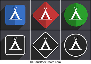 Camp Set von flachen Design Web Icons in 6 Optionen.